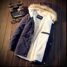 Mens Fur Hooded Jackets Parka Fleece Lined Outwear Snow Casual Warm Coat