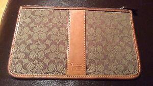 AUTHENTIC COACH Jacquard Signature C With Leather Trim Pouch Wristlets Wallet