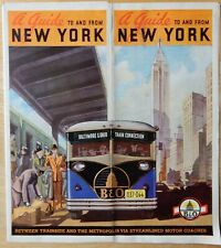 BALTIMORE & OHIO RR GUIDE TO AND FROM NEW YORK 1939 MOTOR COACH BROCHURE B&O