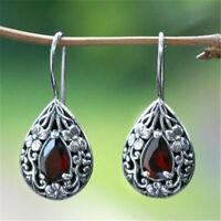 Women 925 Silver Pear Cut Ruby Carved Ear Hook Dangle Drop Jewelry Earrings Gift