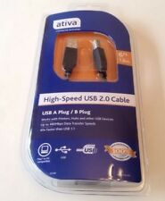 ATIVA HIGH-SPEED USB NEW CABLE 2.0 6ft A B, PRINTER HUBS PC or MAC 1.8M.
