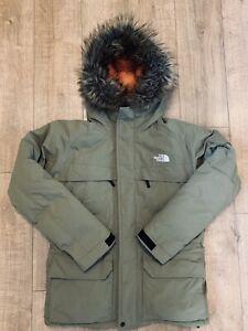 North Face Mcmurdo Goodwin Men's Down Parka Jacket Coat Khaki Green Fur Size XL