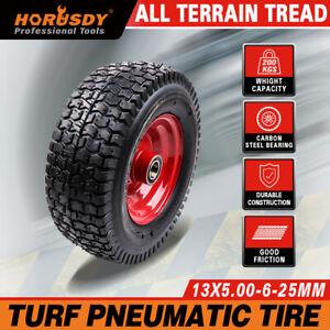 """13"""" Wheelbarrow Trolley Wheel 5.00-6 Pneumatic Tyre 25.4mm Bore Tire Steel Rim"""