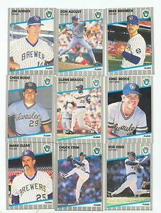 1989 Fleer Milwaukee Brewers Complete Team Set! Robin Yount Paul Molitor ++