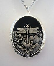 Victorian Steampunk LARGE DRAGONFLY Hand Painted CAMEO LOCKET Necklace