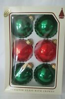 Vintage Christmas By Krebs Red Green  Designer Glass Balls w/Crowns Six IOB GUC