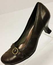 Mudd Womens Brown Size 7M Aaron Slip On Pumps Buckle Strap 2.5 Inch Stacked Heel