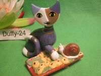 Katze mit Schnecke Mia Piccola Chiocci 8 x 7,5 cm R . Wachtmeister von Goebel