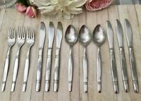 SPOONS FORKS & KNIVES 12PCE STAINLESS STEEL VINTAGE CUTLERY BUNDLE TEA ROOM CAFE