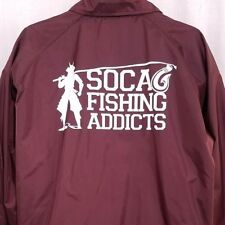 SoCal Fishing Addicts Mens Coach Jacket Windbreaker Fisherman Red Size XL