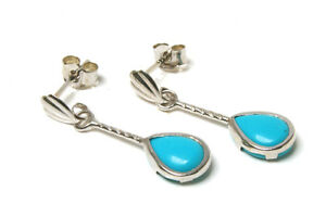 9ct White Gold Turquoise Teardrop Earrings Gift Boxed Made in UK Birthday Gift