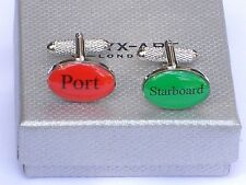 """CRUISERS/SAILORS GIFT """"Port/Starboard"""" Silver Style METAL CUFF LINKS in GIFT BOX"""