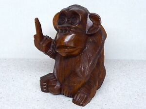 Monkey Wood Carving Hand Carved Wooden Monkey Finger Up Rude Monkey!