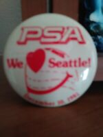 "Pacific Southwest Airlines Pin ""PSA We Love Seattle! December 10, 1981"""