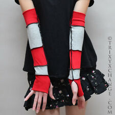 Red Grey Striped Cotton Arm Warmers Fingerless Gloves with Thumb Holes Warm 1028