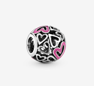New Pandora Sterling Silver S925 ALE Pink Openwork Freehand Heart Charm # 798677