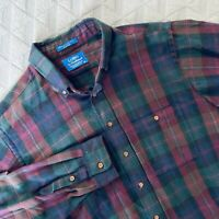 Pendleton Lobo Long Sleeve Cotton Wool Blend Plaid Shirt Mens XL Made in USA