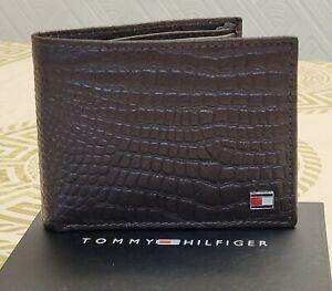 Mens RFID Genuine Crocodile Leather Tommy Hilfiger Wallet Brown