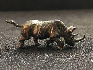 Rhinocéros en bronze argenté animalier pièce ancienne