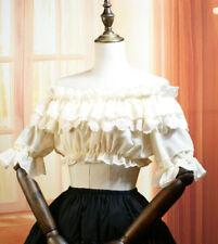 Women Chiffon Lolita Off Shoulder Bubble Short Sleeve Lace Blouse Shirt Tops