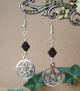 Pentagram and Black Bead Dangly Earrings - Wicca Witch Pagan Goth