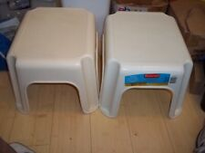 2 NEW RUBBERMAID ROUGHNECK STEP STOOL HOLD UP TO 300 LBS. WHITE & BISQUE