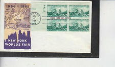 FDC #1244 NY WORLD'S FAIR 1964 JACKSON CACHET PLATE BLK UNADDRESSED FLAP FREE+++