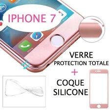 iPhone 7 VERRE TREMPE ROSE Film de protection Intégral Total écran 4.7 + COQUE