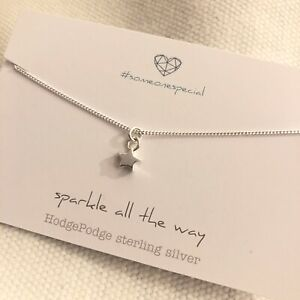 Sterling Silver star necklace.GIFT.#some one special.Sparkle all the way.18 inch