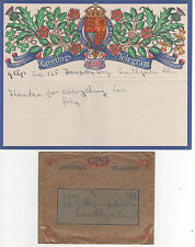 "GVI ""GPO GREETINGS TELEGRAM"" 1942 - USED ""SOUTHGATE"""