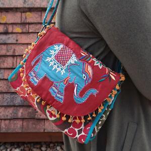Embroidered Elephant Shoulder Bag Cross Body Pom Poms Aztec Print Fair Trade
