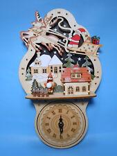 beleuchtete Weihnachtsdekoration mit Uhr Wanduhr Fensterbild 19 cm neu