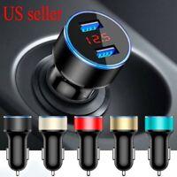 Dual Ports 3.1A USB Car Auto Cigarette Charger Lighter Digital LED Voltmeter USA
