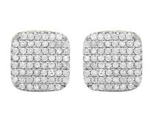 Ladies Men's 10K Yellow Gold Real Diamond Square Pave Stud Earrings .75ct 8MM