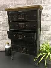Retro Vintage Industrial Black Cabinet Drawers Unit Storage Shelves Home Decor
