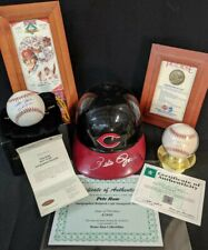 Pete Rose Cincinnati Reds Memorabilia Lot of 5 - Signed MVP Ball, Helmet, Ticket