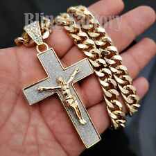 "Men Hip Hop Gold Plated Glittered Jesus Cross Pendant & 30"" Cuban Chain Necklace"