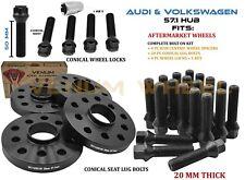 Audi A4 TT Quattro A6 S4 Hub Centric Wheel Spacer Kit 20mm Thick + Wheel Locks
