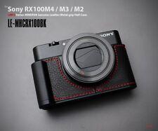 LIM'S Metal Grip Genuine Leather Camera Half Case For Sony RX100 II III IV V BK