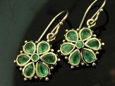 E036 Genuine 9K Gold NATURAL Green Emerald DAISY EARRINGS Dangle Blossom Flower