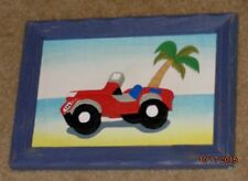 Child's BEDROOM PLAYROOM Baby Nursery WOODEN WALL PICTURE Red JEEP Beach 3D Art