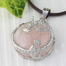 Rosen Quarz Edelstein Drachen Rund Anhänger 22*10mm Damenschmuck für Halskette