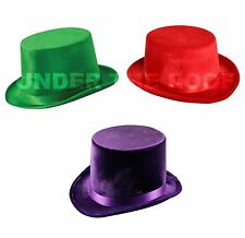 Velvet Top Hat Mad Hatter Costume Fancy Dress Purple Red Green Fedora Trilby