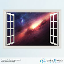 Outer Space Galaxy 3D Window View Decal Wall Sticker Home Decor Art Mural