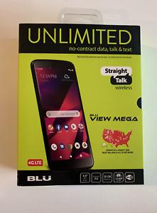 NEW Blu View Mega, 32GB Black - Prepaid Smartphone Straight Talk