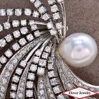 Vintage 6.27ct Diamond Pearl Platinum Swirl Clip Pin Pendant 33.1 Grams NR
