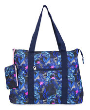 Jenzys Womens Tropical Floral Large Shoulder Tote Bag for Travel Shopping Gym
