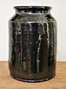 """Antique 19th C BLACK GLAZE Dk Brown Early REDWARE CROCK Canning JAR 8"""" #3"""