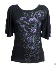 Entwined Purple Roses Boatneck Shirt Small Black Spiral Direct Gothic Rock Biker