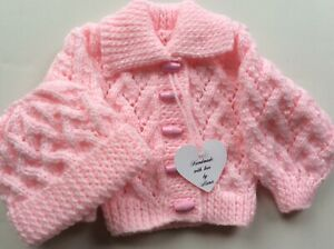 New Born Girls Hand  KNITTED CARDIGAN/HAT Set  Pink Knitted